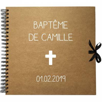 Album photo baptême personnalisable kraft et blanc (30 x 30 cm) Les Griottes