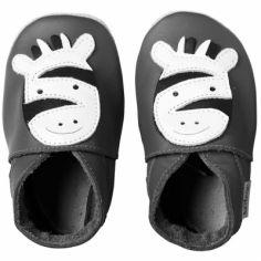 Chaussons bébé cuir Soft soles zèbre (3-9 mois)