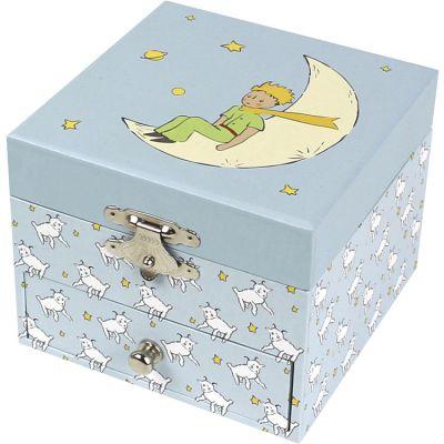 Boîte à musique cube Le Petit Prince bleu clair  par Trousselier