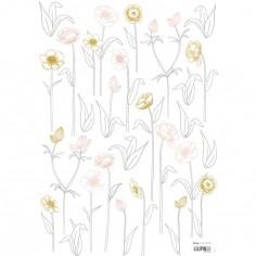 Planche de stickers A3 de petites fleurs sur tiges