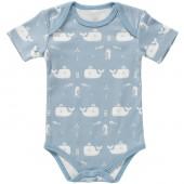 Body à manches courtes baleine bleu en coton bio (naissance : 50 cm) - Fresk