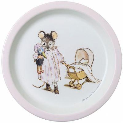 Assiette plate Ernest et Célestine rose  par Petit Jour Paris