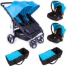Pack Trio Poussette Double Easy Twin 3.0S turquoise - Baby Monsters