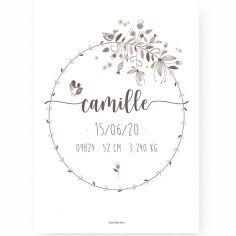 Affiche de naissance A3 Couronne de fleurs (personnalisable)