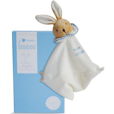 Doudou plat L'Original lapin bleu (25 cm) Doudou et Compagnie