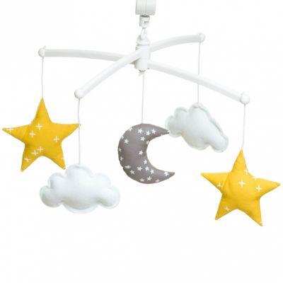 Mobile musical Lune jaune et gris (mélodie au choix)  par Pouce et Lina