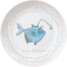 Assiette en porcelaine Poisson lanterne (personnalisable)