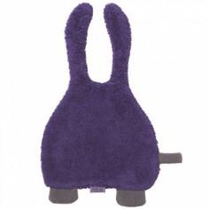 Doudou attache sucette violet et gris