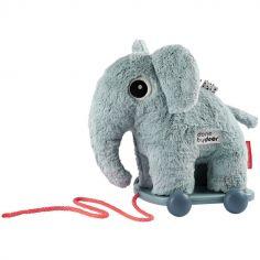 Jouet à tirer avec aimant Elphee éléphant bleu