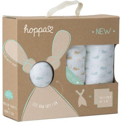 Coffret cadeau de naissance doudou Floppy et langes baleines (3 pièces)  par Hoppa