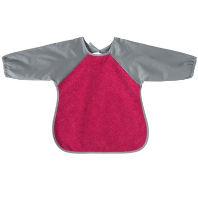 Bavoir tablier à manches rose et gris  par Babycalin