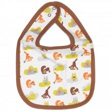 Bavoir animaux de la forêt marron et orange  par Fresk