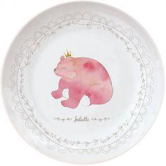 Assiette en porcelaine Ours rose (personnalisable)