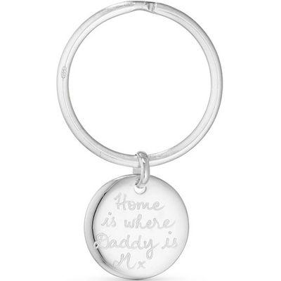 Porte-clés Disque personnalisable (argent 925°) Merci Maman