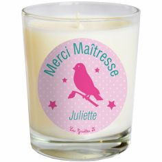 Bougie artisanale Merci maîtresse ou Merci Nounou oiseau rose (personnalisable)