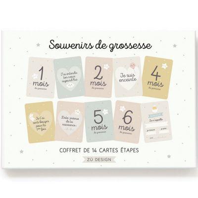 Cartes étapes souvenirs de grossesse (14 cartes)