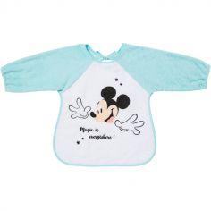 Bavoir à manches en éponge à nouer Mickey bleu