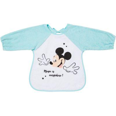 Bavoir à manches en éponge à nouer Mickey bleu  par Babycalin