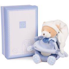 Coffret peluche hochet ours Petit chou bleu clair