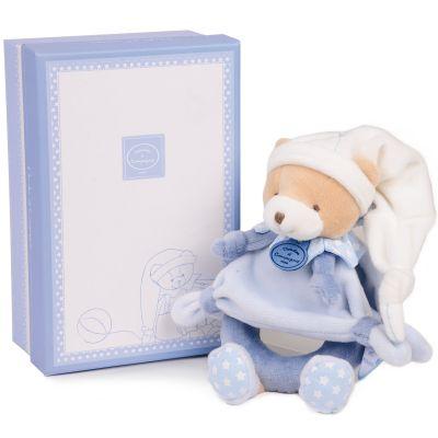 Coffret peluche hochet ours Petit chou bleu clair  par Doudou et Compagnie