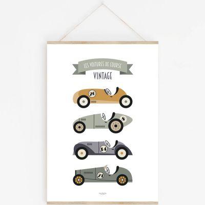 Affiche A3 Voitures de Course Vintage avec support  par Lutin Petit Pois
