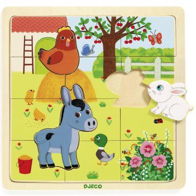 Puzzle en bois Puzzlo Farm (15 pièces) Djeco