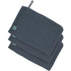 Lot de 3 gants de toilette en mousseline de coton bleu marine