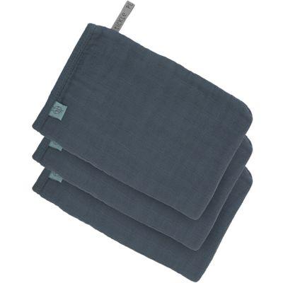 Lot de 3 gants de toilette en mousseline de coton bleu marine  par Lässig