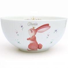Bol en porcelaine Lapin fleuri (personnalisable)