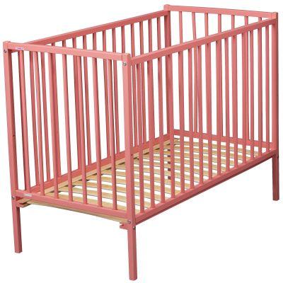 Lit à barreaux Rémi en bois massif laqué rose (70 x 140 cm)