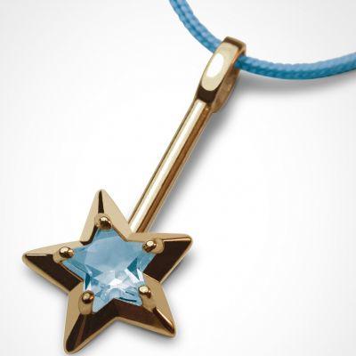 Collier cordon 'Abracadabra' Topaze bleue (or jaune 750°)  par Mikado