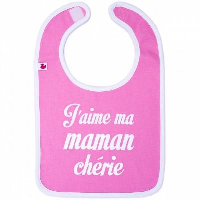 Bavoir J'aime ma maman chérie rose  par BB & Co
