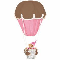 Lampe montgolfière chocolat et fuchsia