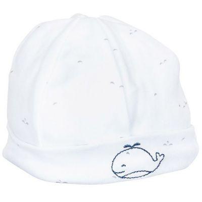 Bonnet de naissance Blue baleine  par Sauthon