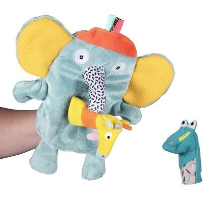 Peluche marionnette Ziggy l'éléphant et ses copains Jungle Boogie  par Ebulobo