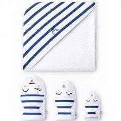 Cape de bain + 3 gants de toilette blancs rayures bleues (90 x 90 cm)