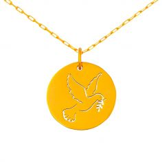 Médaille colombe ajourée sur chaîne (or jaune 18 carats)