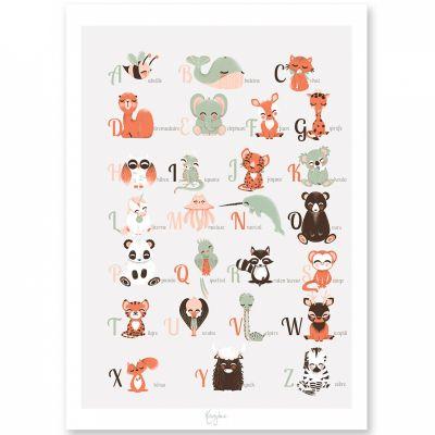 Affiche A3 abécédaire des animaux français  par Kanzilue