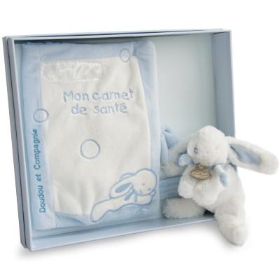Coffret protège carnet de santé et lapin Mon tout petit lapin bleu  par Doudou et Compagnie