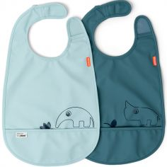 Lot de 2 bavoirs imperméable à velcro Deer Friends bleu