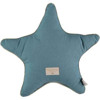 Coussin étoile Aristote bleu vert Nid d'abeille (40 cm)  par Nobodinoz