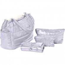 sac langer cabas feather light gris clair ivoire. Black Bedroom Furniture Sets. Home Design Ideas