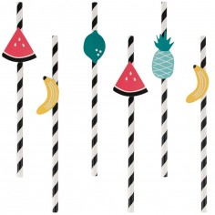 Lot de 12 pailles fruits Tutti Frutti