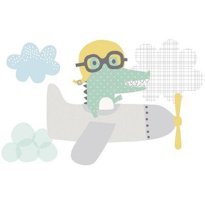 Sticker crocodile dans l'avion Smile, it's raining by Dawn Machell  par Lilipinso