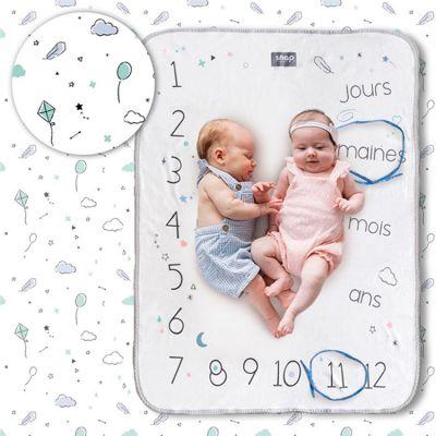 Couverture étapes de bébé Minty white  par Snap The Moment