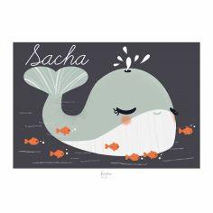 Affiche A4 Les Animignons la baleine (personnalisable)