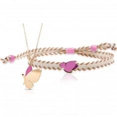 Duo maman enfant Primegioie collier et bracelet Papillon (or jaune 375°)