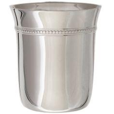 Timbale Perles B en métal argenté dans son coffret (personnalisable)