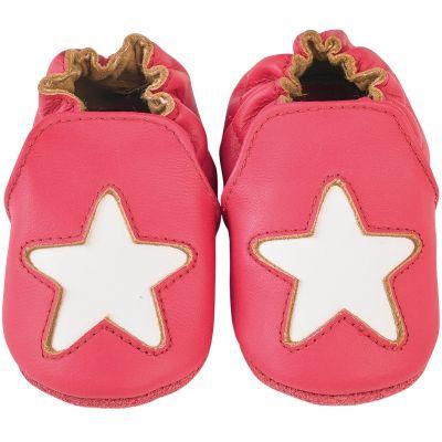 Chaussons cuir Cocon étoile framboise (12-18 mois)  par Noukie's