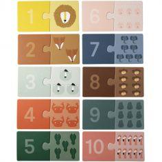 Lot de 10 petits puzzles pour apprendre à compter (2 pièces)